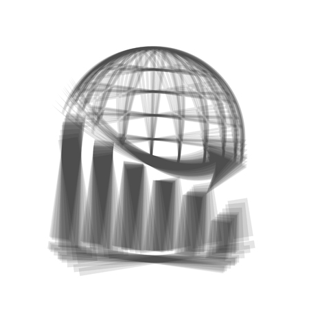 Declining graph with earth. Vector. Gray icon shaked at white background.
