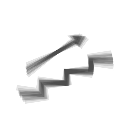 Stair with arrow. Vector. Gray icon shaked at white background.