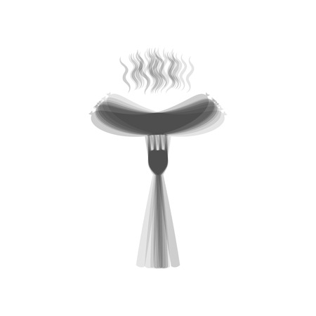 Sausage on fork sign. Vector. Gray icon shaked at white background. Illustration