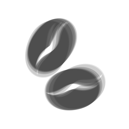 Coffee beans sign. Vector. Gray icon shaked at white background.