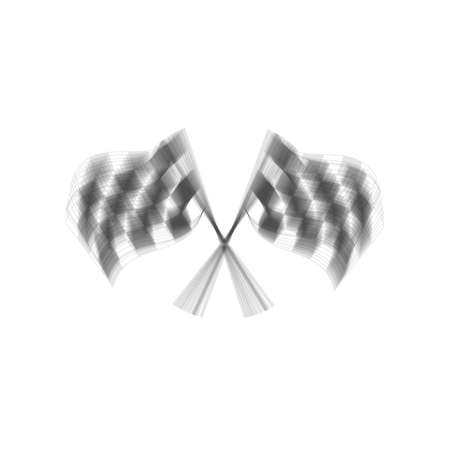 Crossed checkered flags  waving in the wind conceptual of motor sport. Vector. Gray icon shaked at white background. Illustration