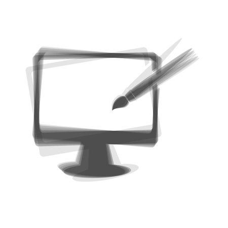 hdtv: Monitor with brush sign. Vector. Gray icon shaked at white background.