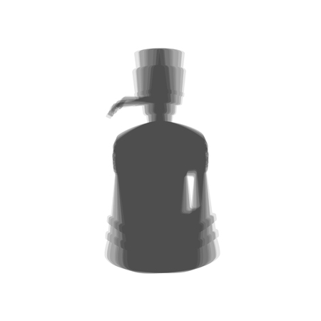 siphon: Plastic bottle silhouette with water and siphon. Vector. Gray icon shaked at white background. Illustration