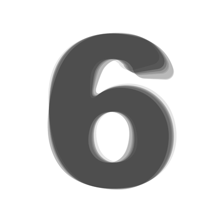 Number 6 sign design template element. Vector. Gray icon shaked at white background.