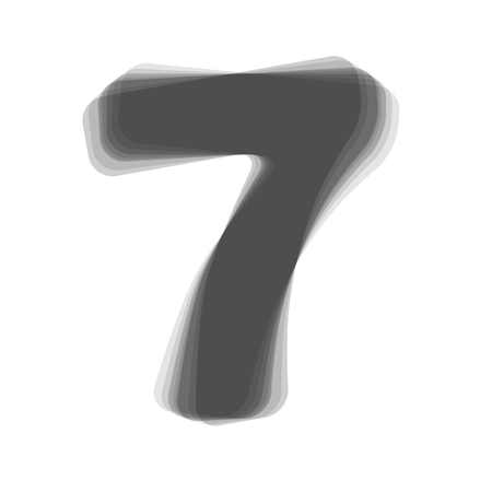 Number 7 sign design template element. Vector. Gray icon shaked at white background.