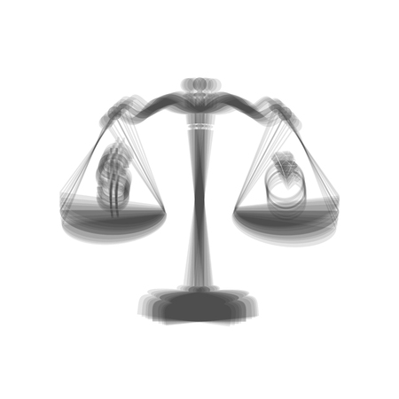 beautifully: Ring jewelery and dollar symbol on scales. Vector. Gray icon shaked at white background. Illustration
