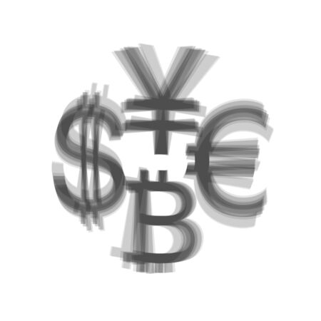 Currency sign collection dollar, euro, bitcoin, yen. Vector. Gray icon shaked at white background. Ilustracja