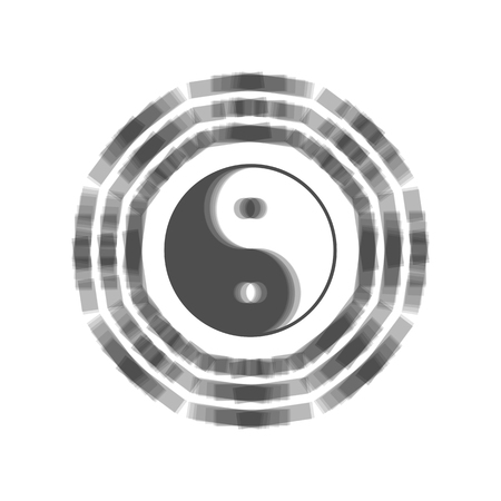 daoism: Yin and yang sign with bagua arrangement. Vector. Gray icon shaked at white background.