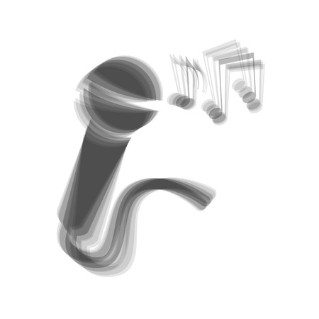 amplification: Microphone sign with music notes. Vector. Gray icon shaked at white background.