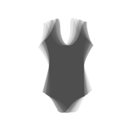 Woman`s swimsuit sign. Vector. Gray icon shaked at white background.
