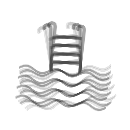 handrail: Swimming Pool sign. Vector. Gray icon shaked at white background.
