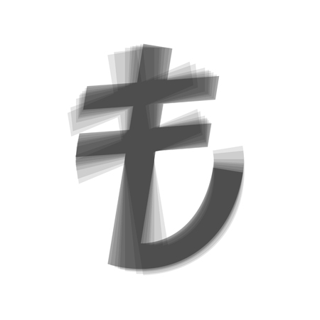 lira: Turkiey Lira sign. Vector. Gray icon shaked at white background.