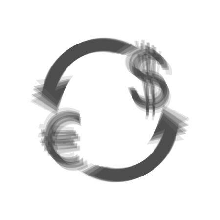 investment concept: Currency exchange sign. Euro and US Dollar. Vector. Gray icon shaked at white background.