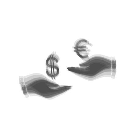 Valutawissel van hand tot hand. Dollar en Euro. Vector. Grijs pictogram dat bij witte achtergrond wordt geschud.