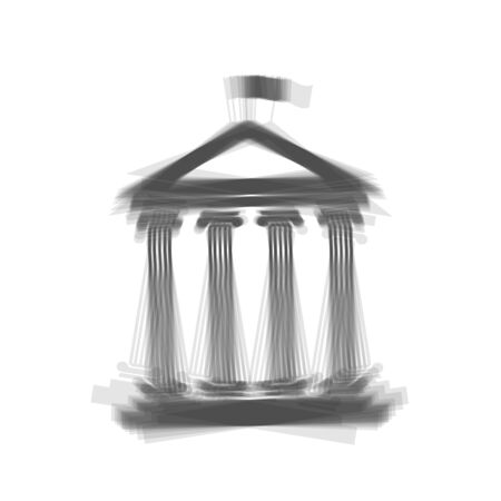 courthouse: Historical building with flag. Vector. Gray icon shaked at white background.