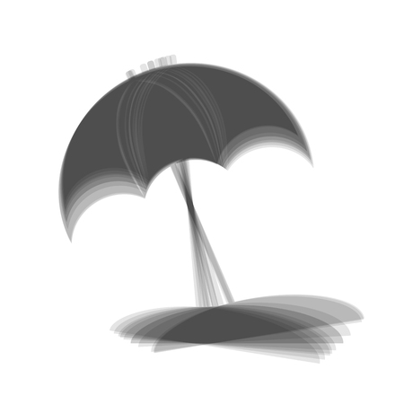Umbrella and sun lounger sign. Vector. Gray icon shaked at white background.