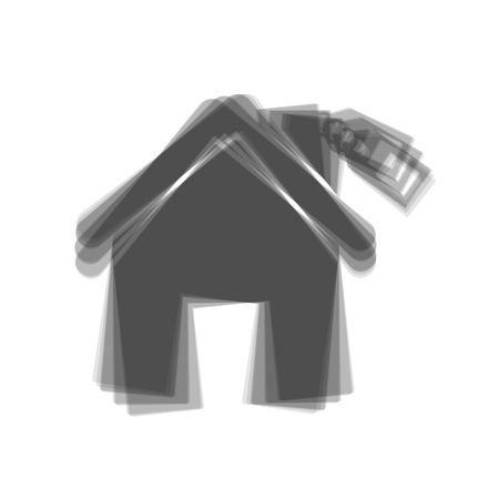 for rental: Home silhouette with tag. Vector. Gray icon shaked at white background. Illustration