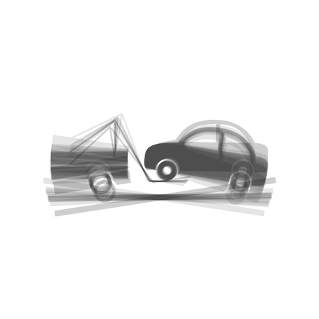 emergency cart: Tow truck sign. Vector. Gray icon shaked at white background.