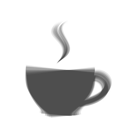 long beans: Cup sign with one small stream of smoke. Vector. Gray icon shaked at white background.