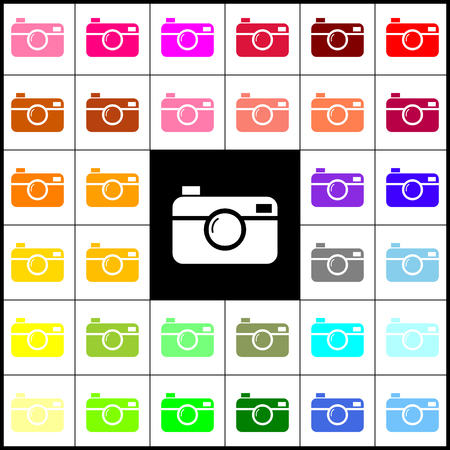 Digital photo camera sign. Vector. Felt-pen 33 colorful icons at white and black backgrounds. Colorfull.