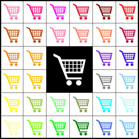 emarketing: Shopping cart sign. Vector. Felt-pen 33 colorful icons at white and black backgrounds. Colorfull.