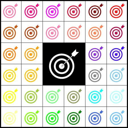 advantages: Target with dart. Vector. Felt-pen 33 colorful icons at white and black backgrounds. Colorfull.