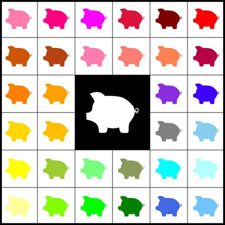 Pig money bank sign. Vector. Felt-pen 33 colorful icons at white and black backgrounds. Colorfull.