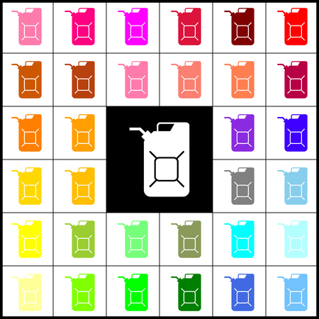 filler: Jerrycan oil sign. Jerry can oil sign. Vector. Felt-pen 33 colorful icons at white and black backgrounds. Colorfull. Illustration