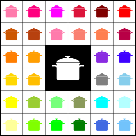 Cooking pan sign. Vector. Felt-pen 33 colorful icons at white and black backgrounds. Colorfull.