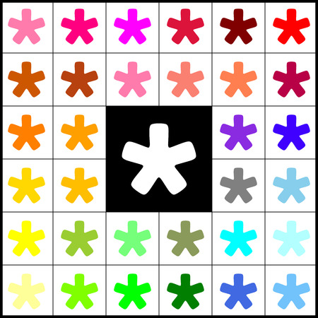 Asterisk star sign. Vector. Felt-pen 33 colorful icons at white and black backgrounds. Colorfull.