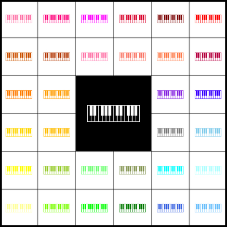Piano Keyboard sign. Vector. Felt-pen 33 colorful icons at white and black backgrounds. Colorfull.