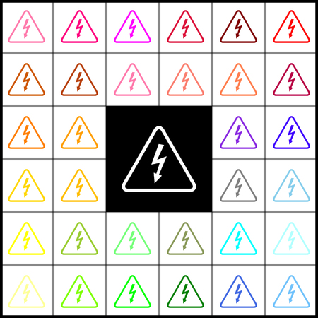 volte: High voltage danger sign. Vector. Felt-pen 33 colorful icons at white and black backgrounds. Colorfull.