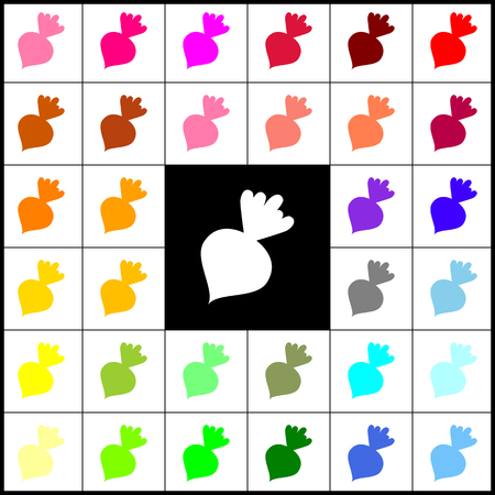 Beet simple sign. Vector. Felt-pen 33 colorful icons at white and black backgrounds. Colorfull.