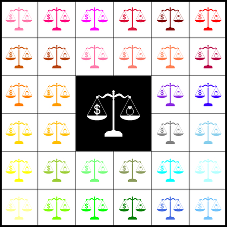 Ring jewelery and dollar symbol on scales. Vector. Felt-pen 33 colorful icons at white and black backgrounds. Colorfull.