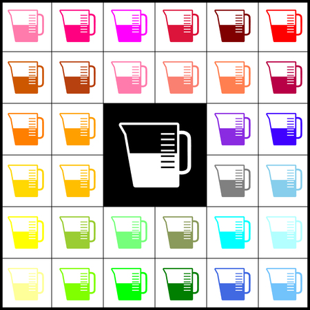 Beaker sign. Vector. Felt-pen 33 colorful icons at white and black backgrounds. Colorfull. Illustration