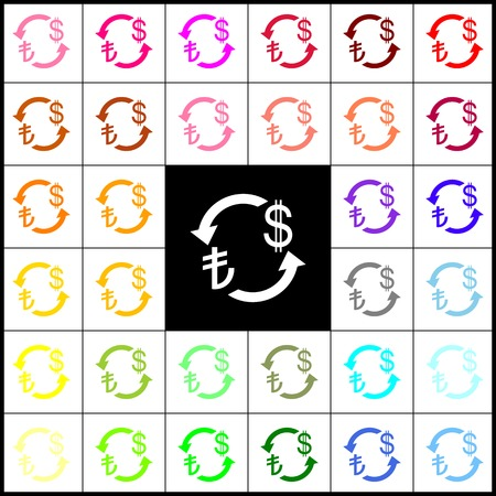 lira: Currency exchange sign. Turkey Lira and US Dollar. Vector. Felt-pen 33 colorful icons at white and black backgrounds. Colorfull. Illustration