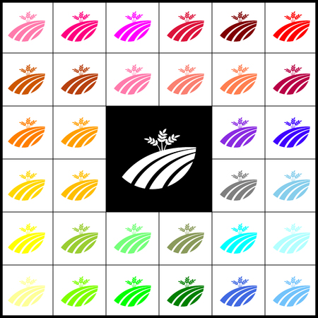 colorful straw: Wheat field sign. Vector. Felt-pen 33 colorful icons at white and black backgrounds. Colorfull.