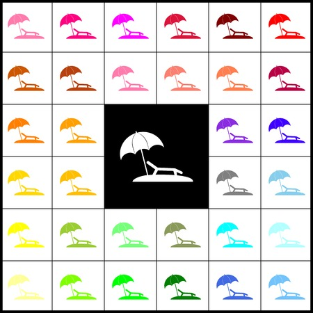 brolly: Tropical resort beach. Sunbed Chair sign. Vector. Felt-pen 33 colorful icons at white and black backgrounds. Colorfull.