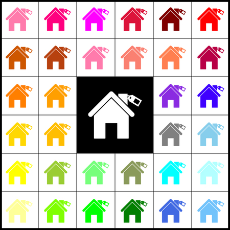 Home silhouette with tag. Vector. Felt-pen 33 colorful icons at white and black backgrounds. Colorfull. Illustration