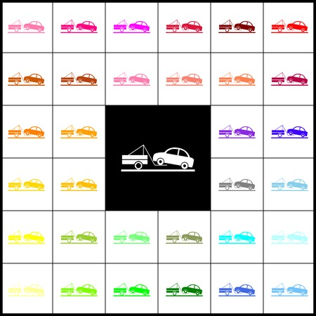 evacuate: Tow truck sign. Vector. Felt-pen 33 colorful icons at white and black backgrounds. Colorfull.