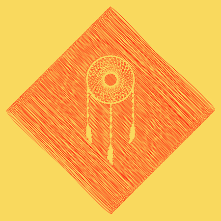 swelled: Dream catcher sign. Vector. Red scribble icon obtained as a result of subtraction rhomb and path. Royal yellow background. Illustration