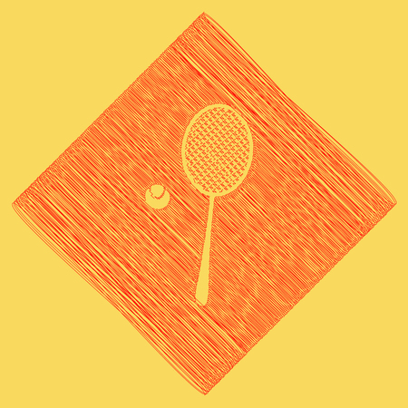 Tennis racquet with ball sign. Vector. Red scribble icon obtained as a result of subtraction rhomb and path. Royal yellow background.