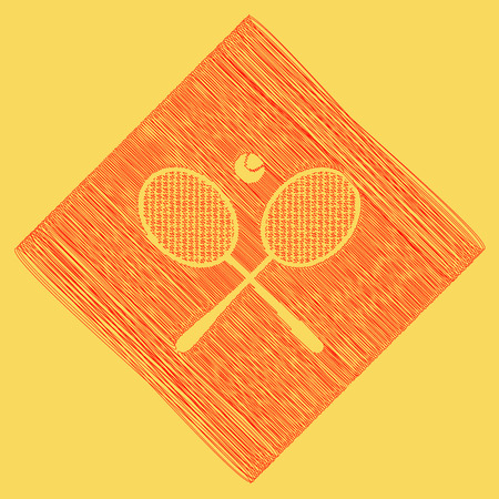 Two tennis racket with ball sign. Vector. Red scribble icon obtained as a result of subtraction rhomb and path. Royal yellow background. Ilustração