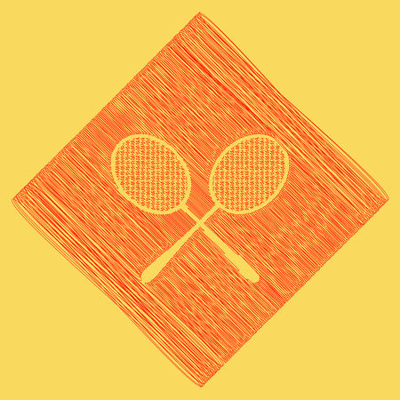 Two tennis racket sign. Vector. Red scribble icon obtained as a result of subtraction rhomb and path. Royal yellow background. Ilustração