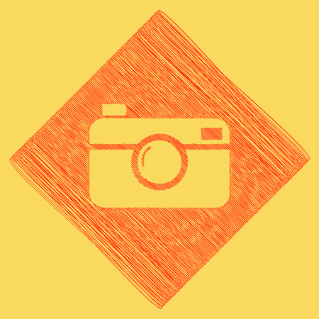 Digital photo camera sign. Vector. Red scribble icon obtained as a result of subtraction rhomb and path. Royal yellow background. Illustration