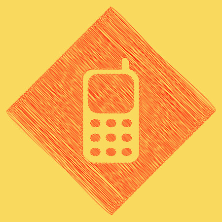 Cell Phone sign. Vector. Red scribble icon obtained as a result of subtraction rhomb and path. Royal yellow background.
