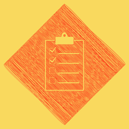Checklist sign illustration. Vector. Red scribble icon obtained as a result of subtraction rhomb and path. Royal yellow background.
