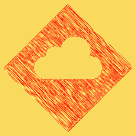 Cloud sign illustration. Vector. Red scribble icon obtained as a result of subtraction rhomb and path. Royal yellow background.