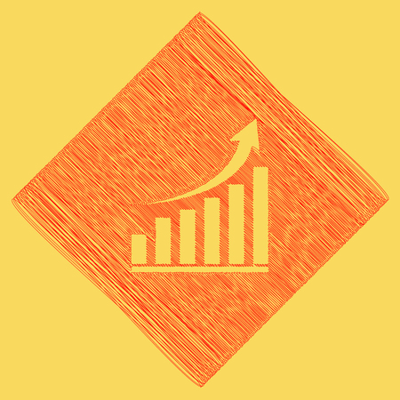 Growing graph sign. Vector. Red scribble icon obtained as a result of subtraction rhomb and path. Royal yellow background.