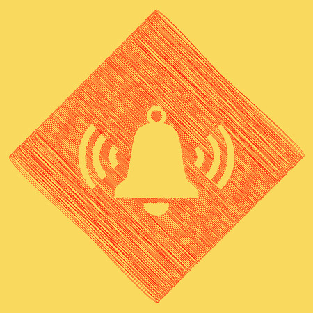 Ringing bell icon. Vector. Red scribble icon obtained as a result of subtraction rhomb and path. Royal yellow background.
